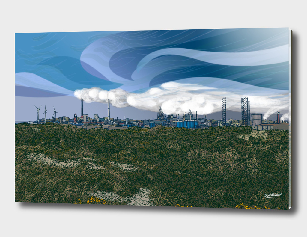 IJmuiden view at TaTa steel from the dunes.