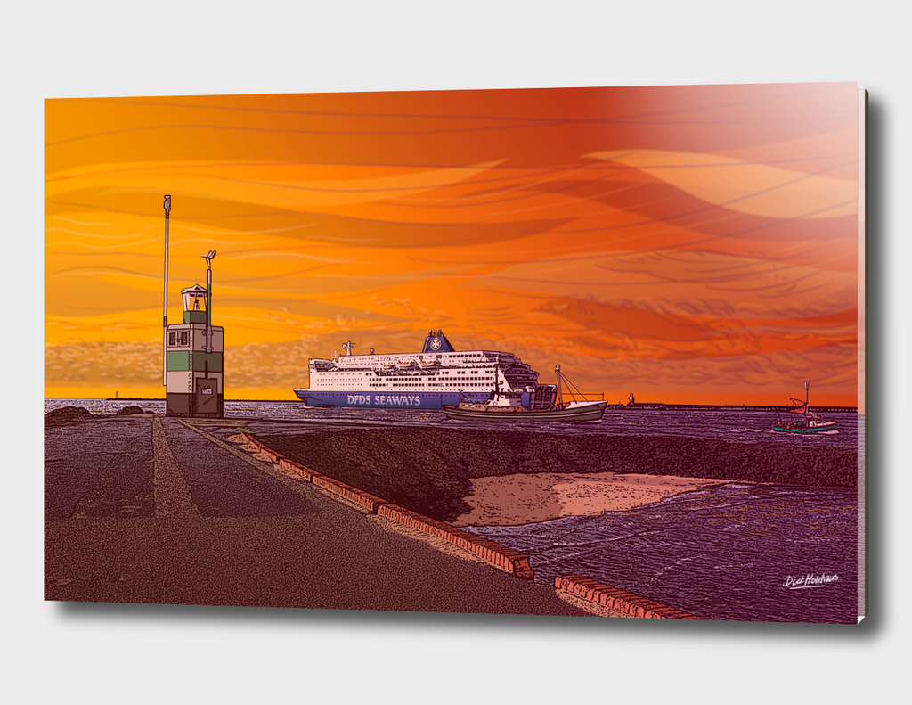 IJmuiden, DFDS ferry leaving for newcastle England.