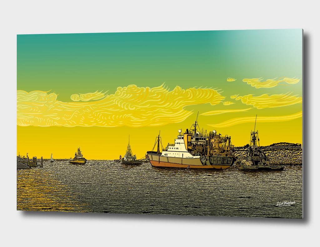 IJmuiden Tugboats tow herring trawler to open sea.