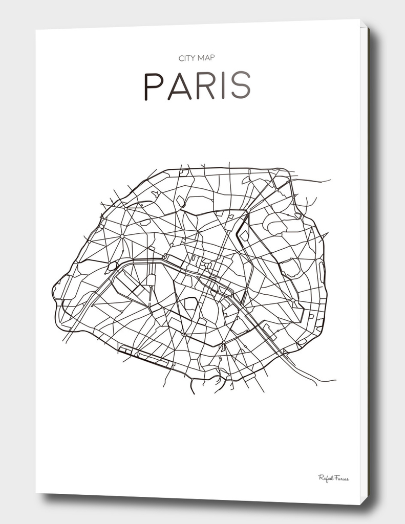 PARIS MINIMALIST MAP WHITE