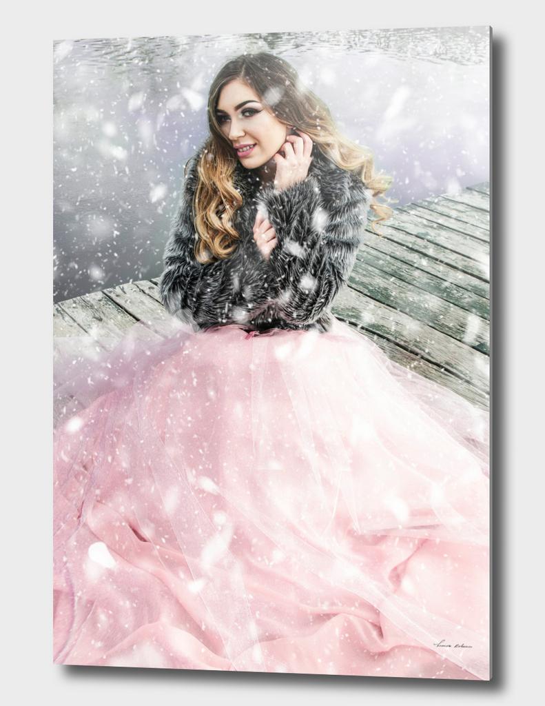 snowy woman portrait