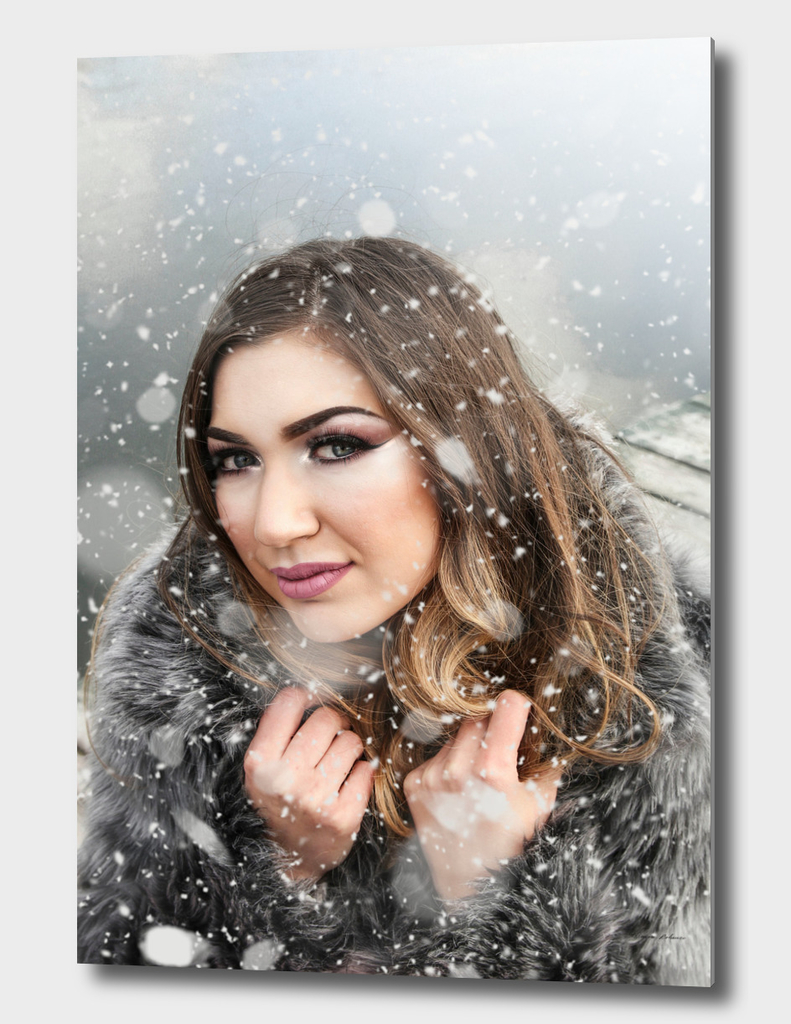 snowy woman portrait