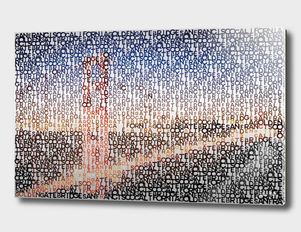 Typographic Art | SAN FRANCISCO Golden Gate Bridge