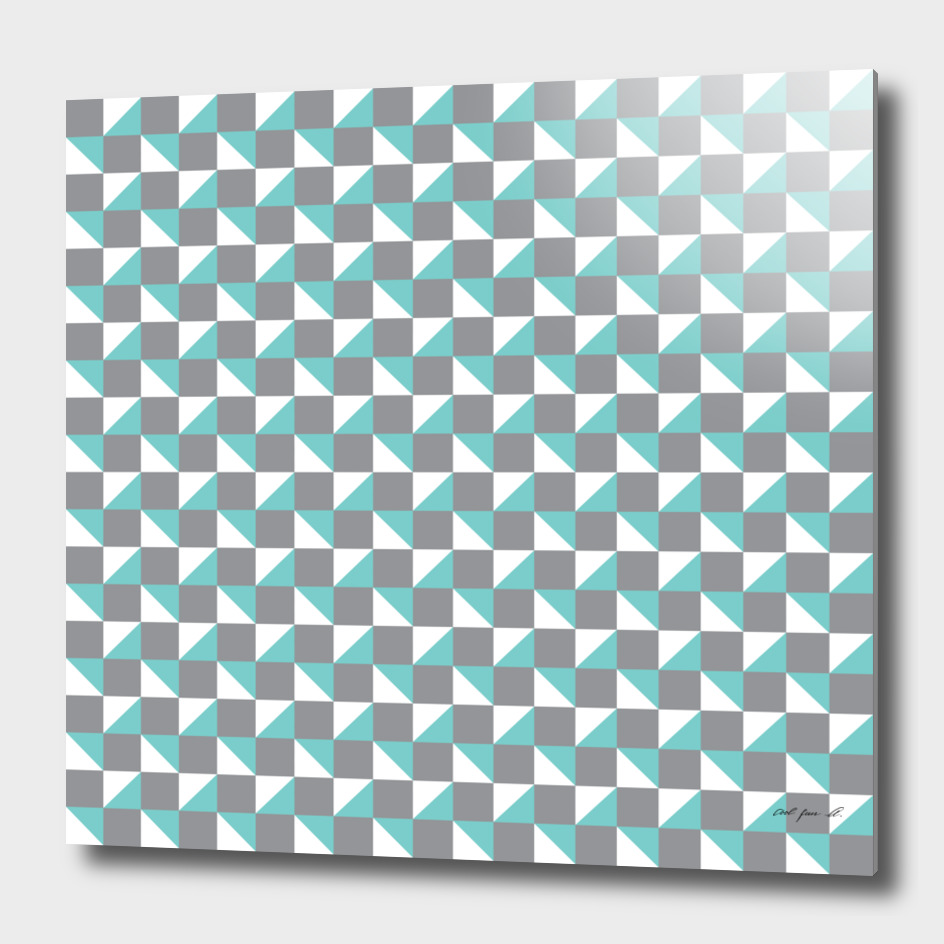 Grey Aqua and White Geometric Pattern