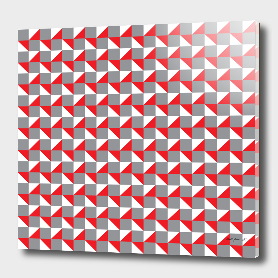 Grey Red and White Geometric Pattern