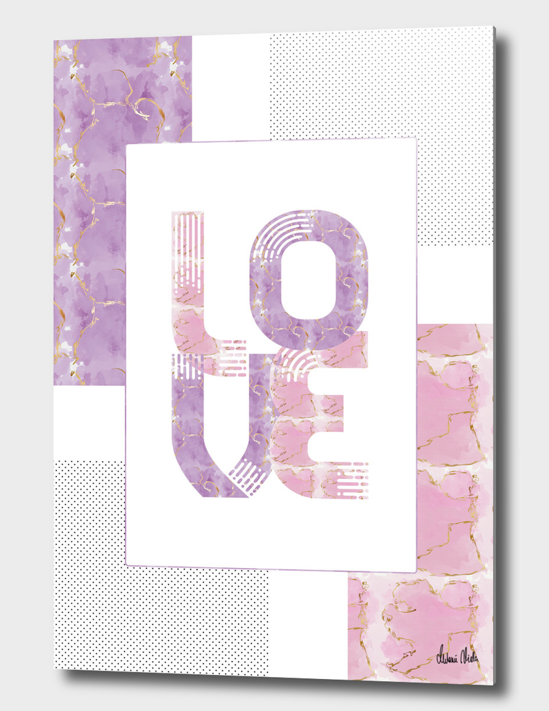 Graphic Art Gold LOVE | rose and violet