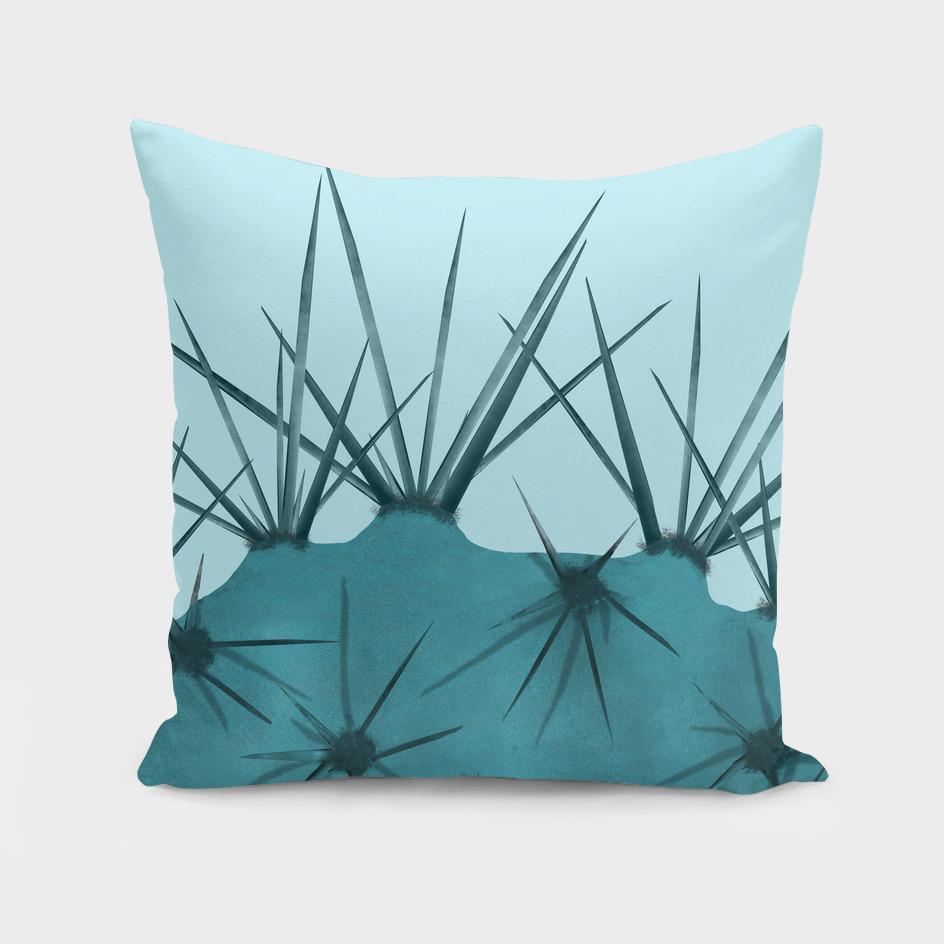 Teal Cactus Close-up Design