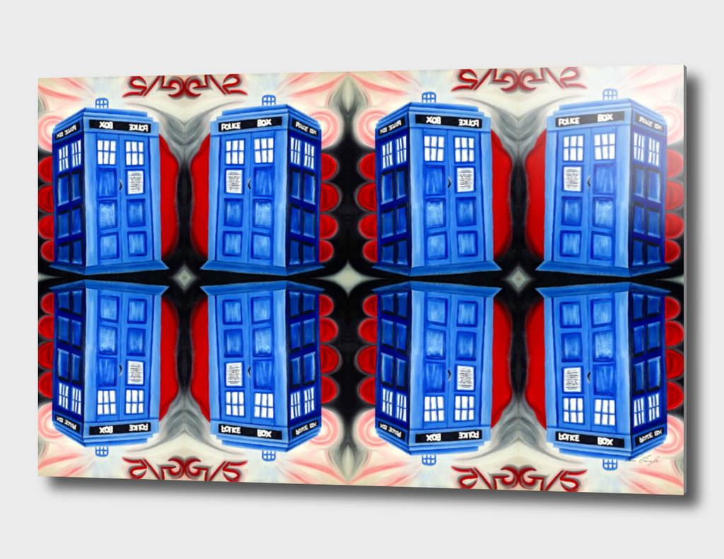 British Blue Police Public Call Box - Mirror 16