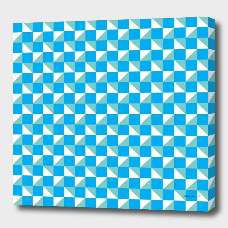 Blue Aqua and White Geometric Pattern