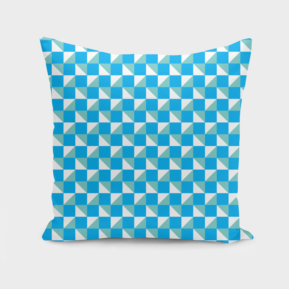 Blue Aqua and White Geometric Pattern