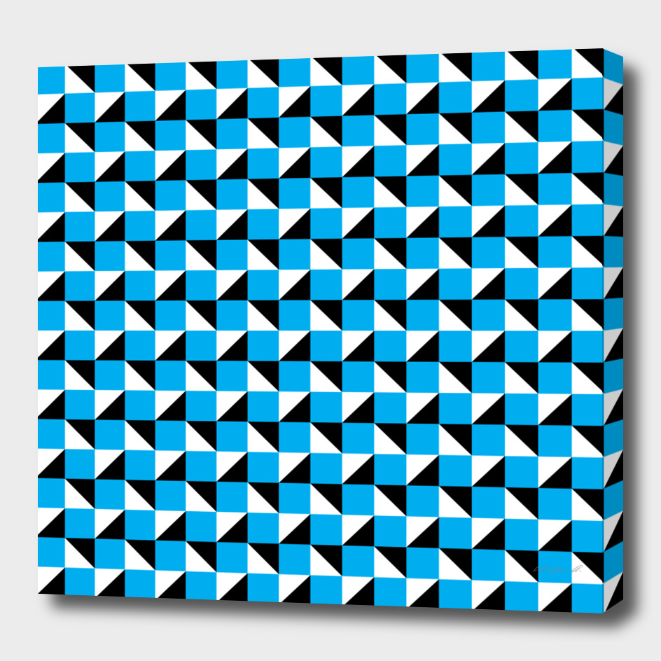 Blue Black and White Geometric Pattern