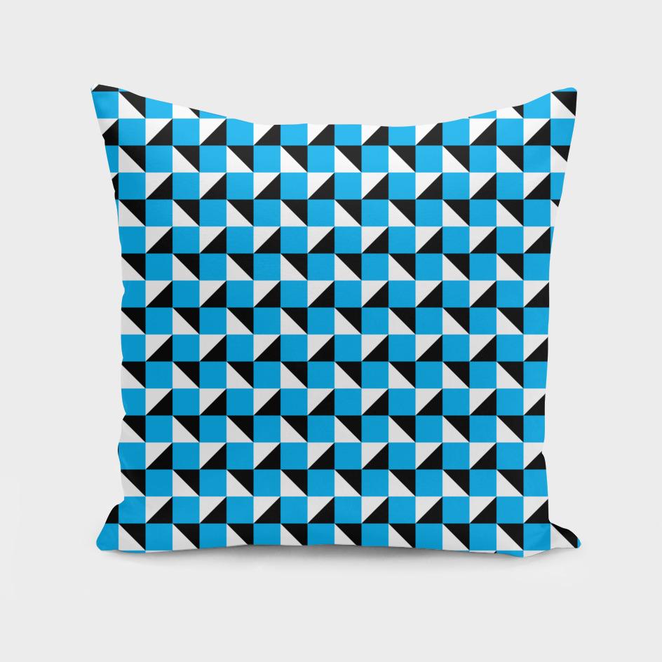 Blue Black and White Geometric Pattern