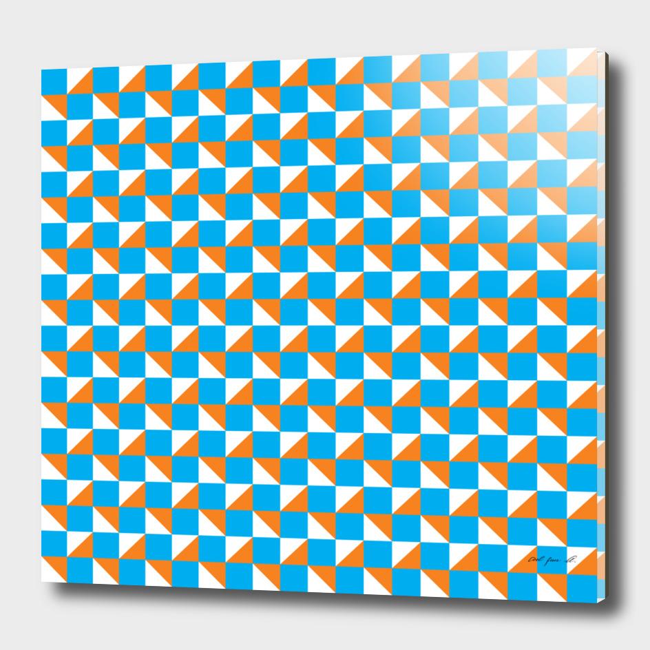 Blue Orange and White Geometric Pattern