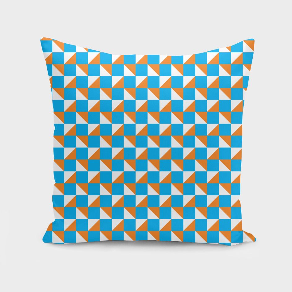 Blue Orange and White Geometric Pattern