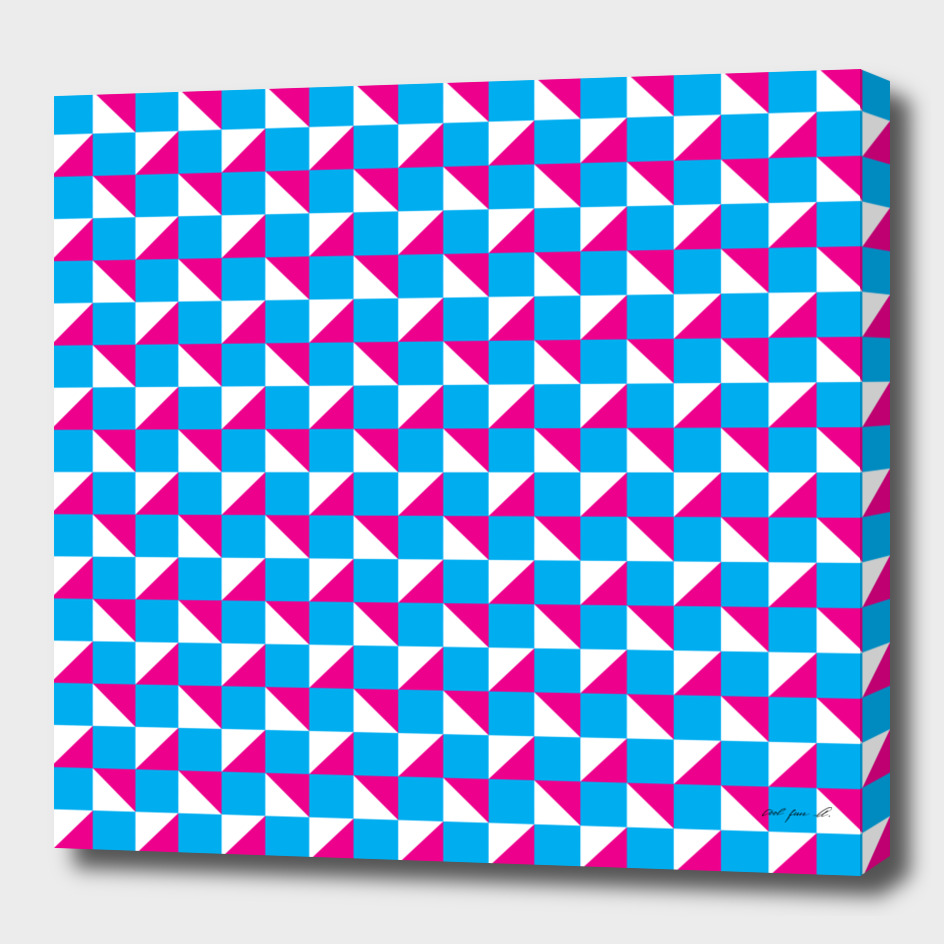 Blue Pink and White Geometric Pattern