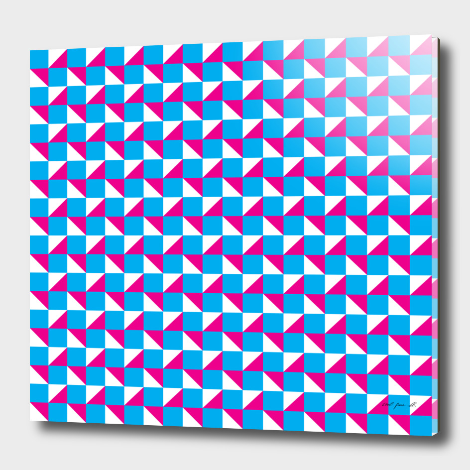 Blue Pink and White Geometric Pattern