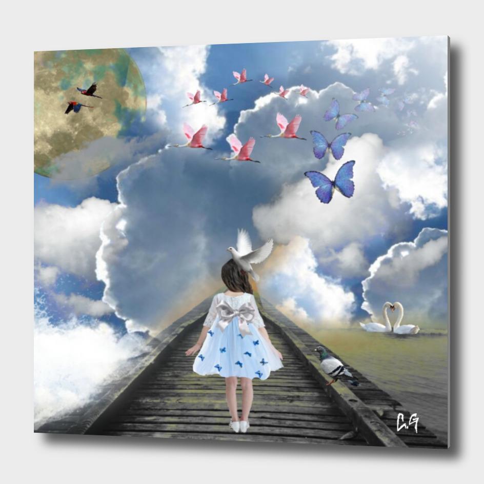 La petite fille sur le pont