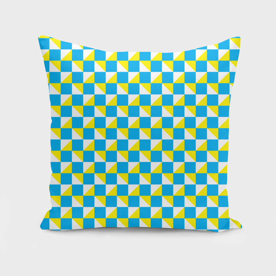 Blue Yellow and White Geometric Pattern