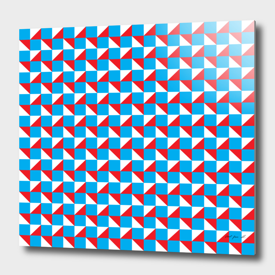 Blue Red and White Geometric Pattern