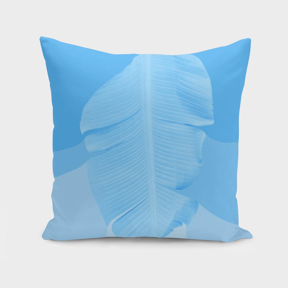 Tropical Banana Leave Pastel Blue Ombre Design