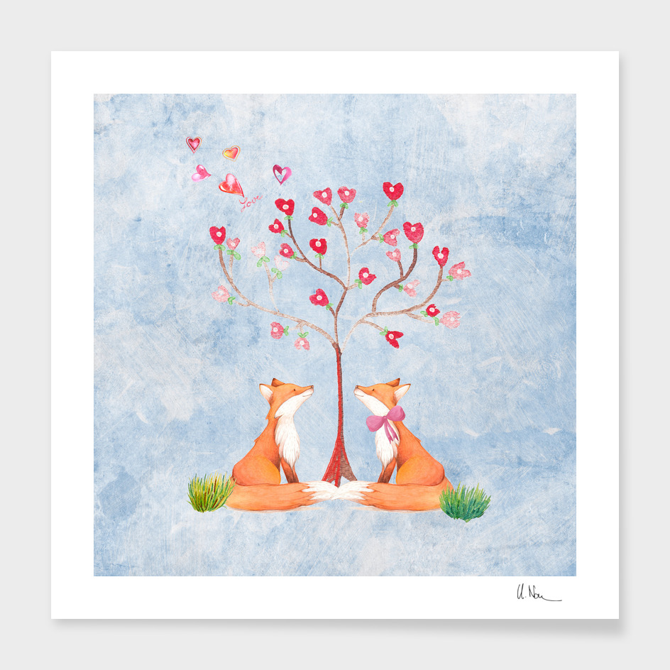 Foxes under the tree of love