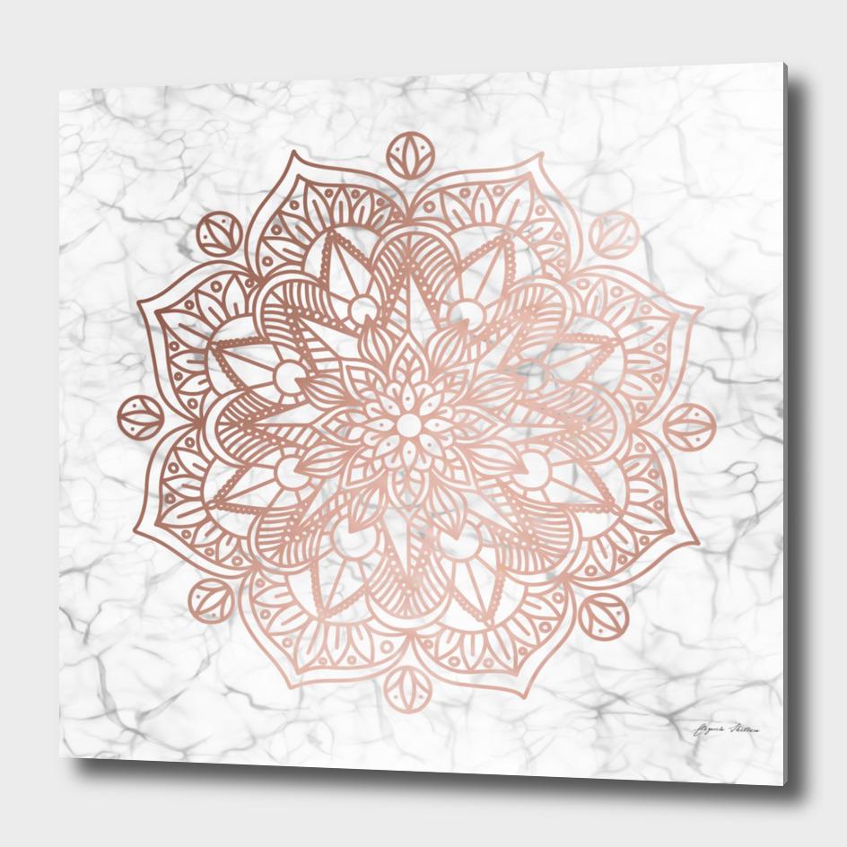 Rose Gold Mandala on Marble