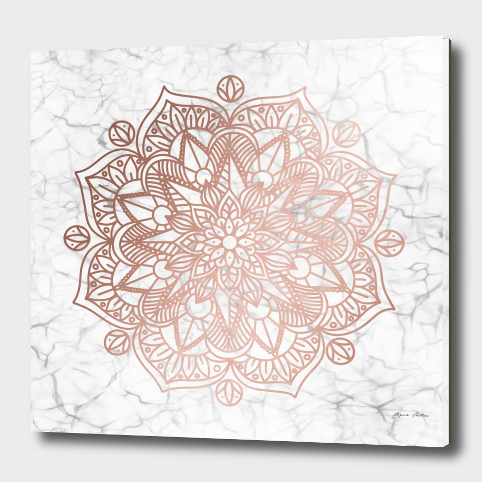Rose Gold Mandala on Marble