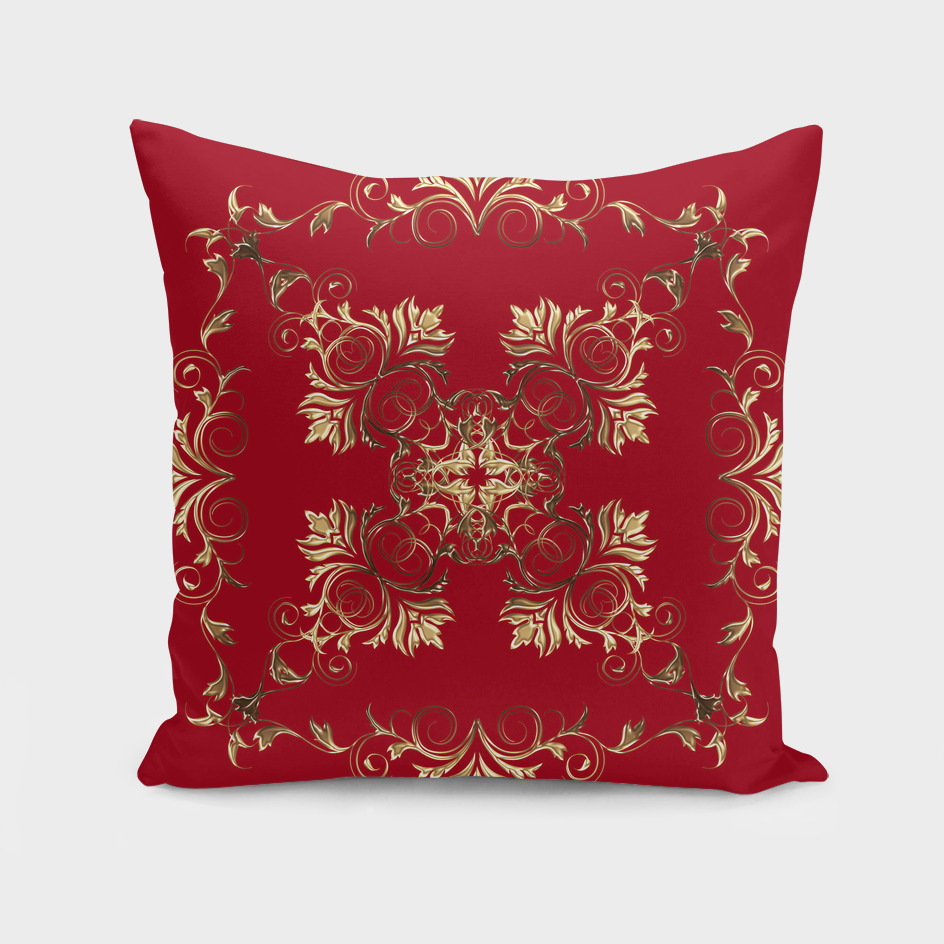 golden baroque on red background