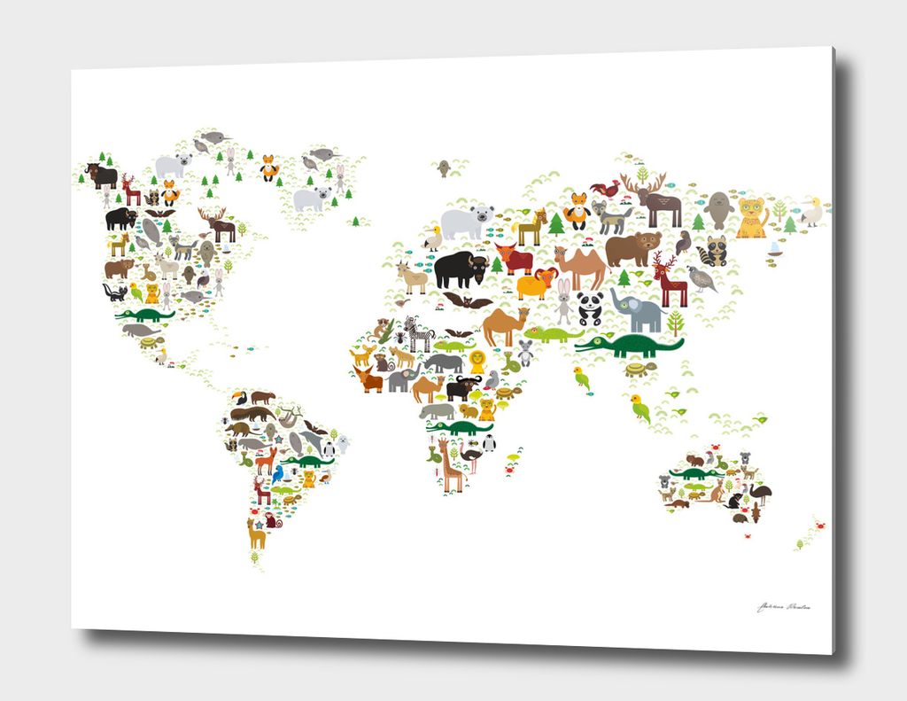 Cartoon animal world map, white background