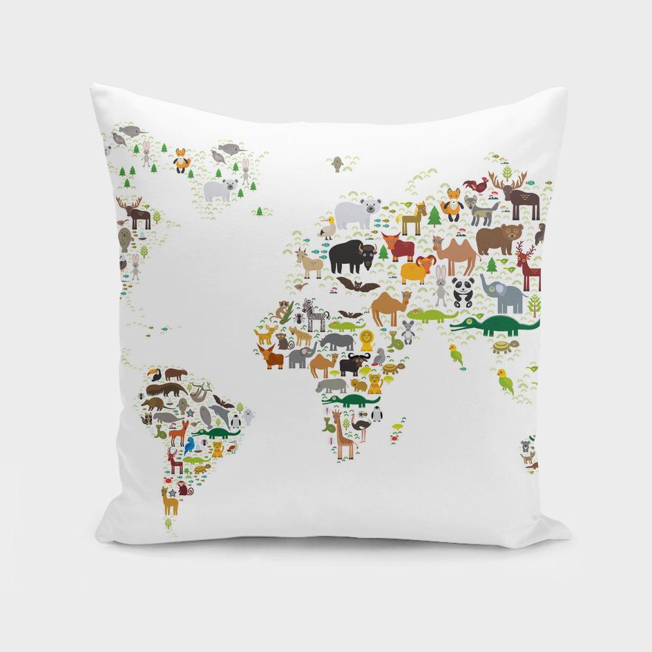 Cartoon animal world map, white background