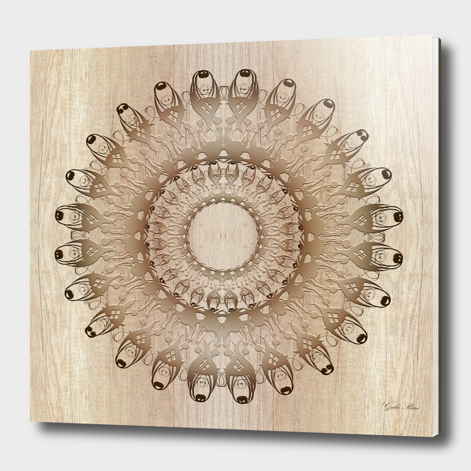 Ethnic mandala on wood background