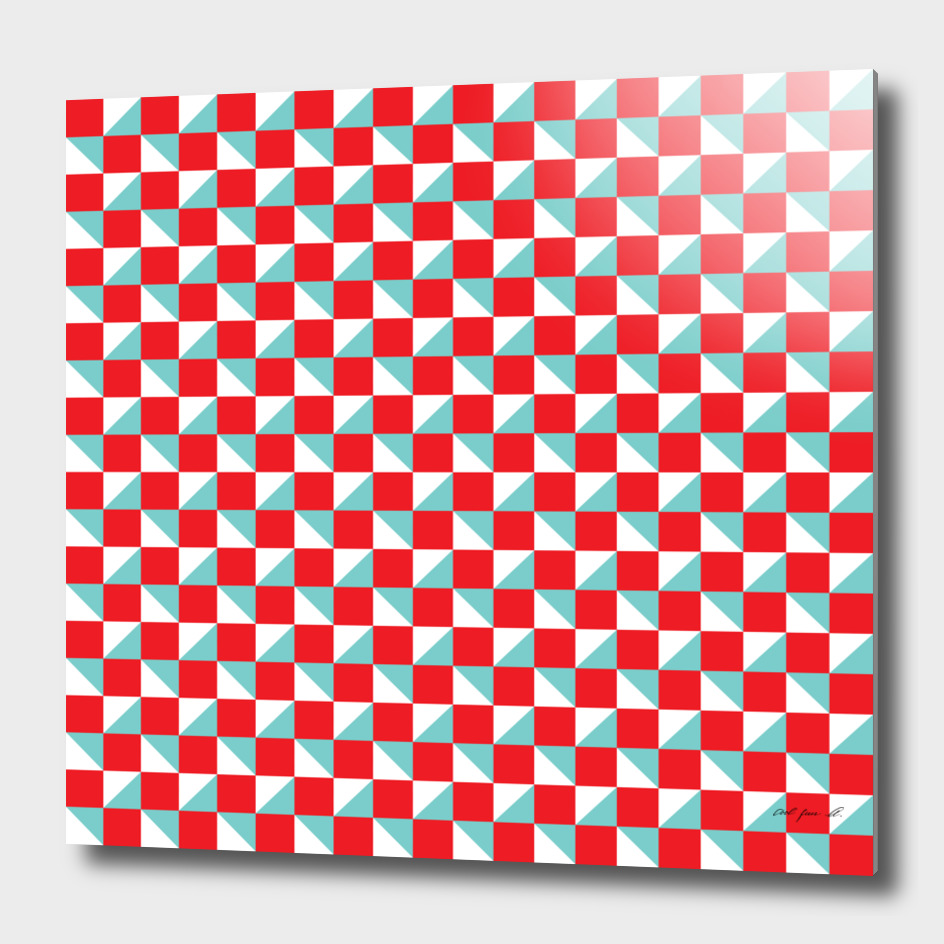 Red Aqua and White Geometric Pattern