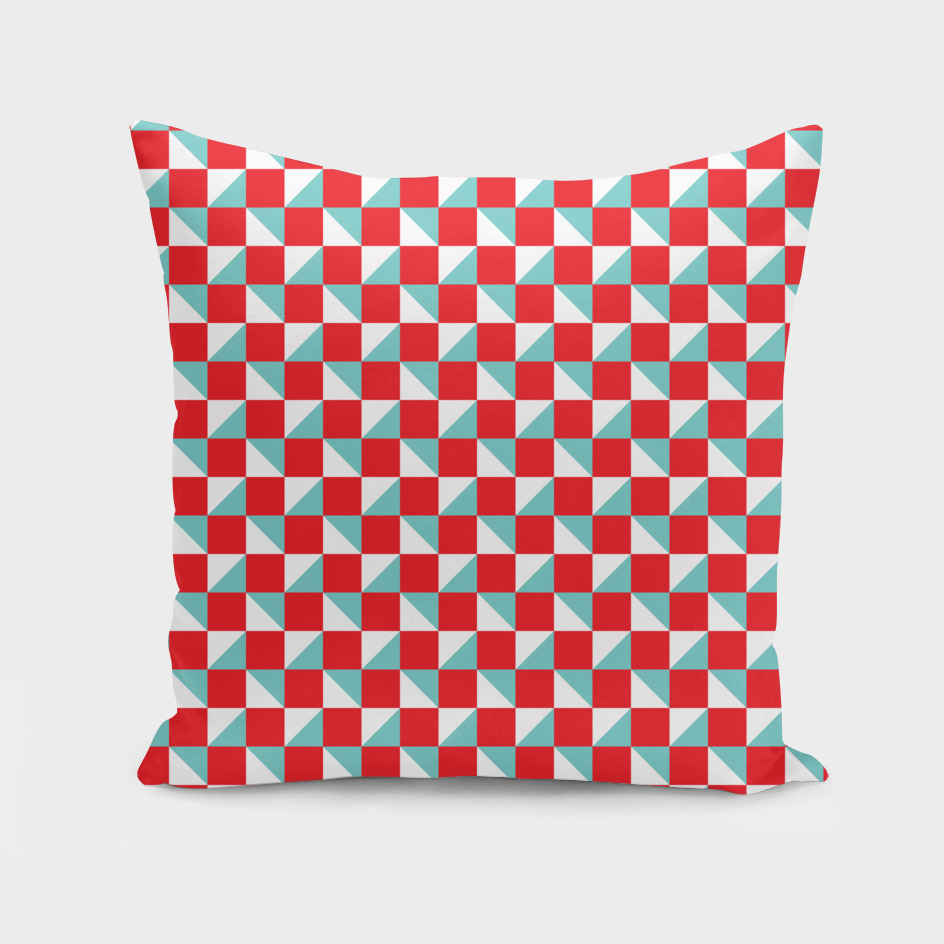 Red Aqua and White Geometric Pattern