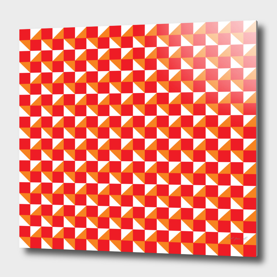 Red Orange and White Geometric Pattern