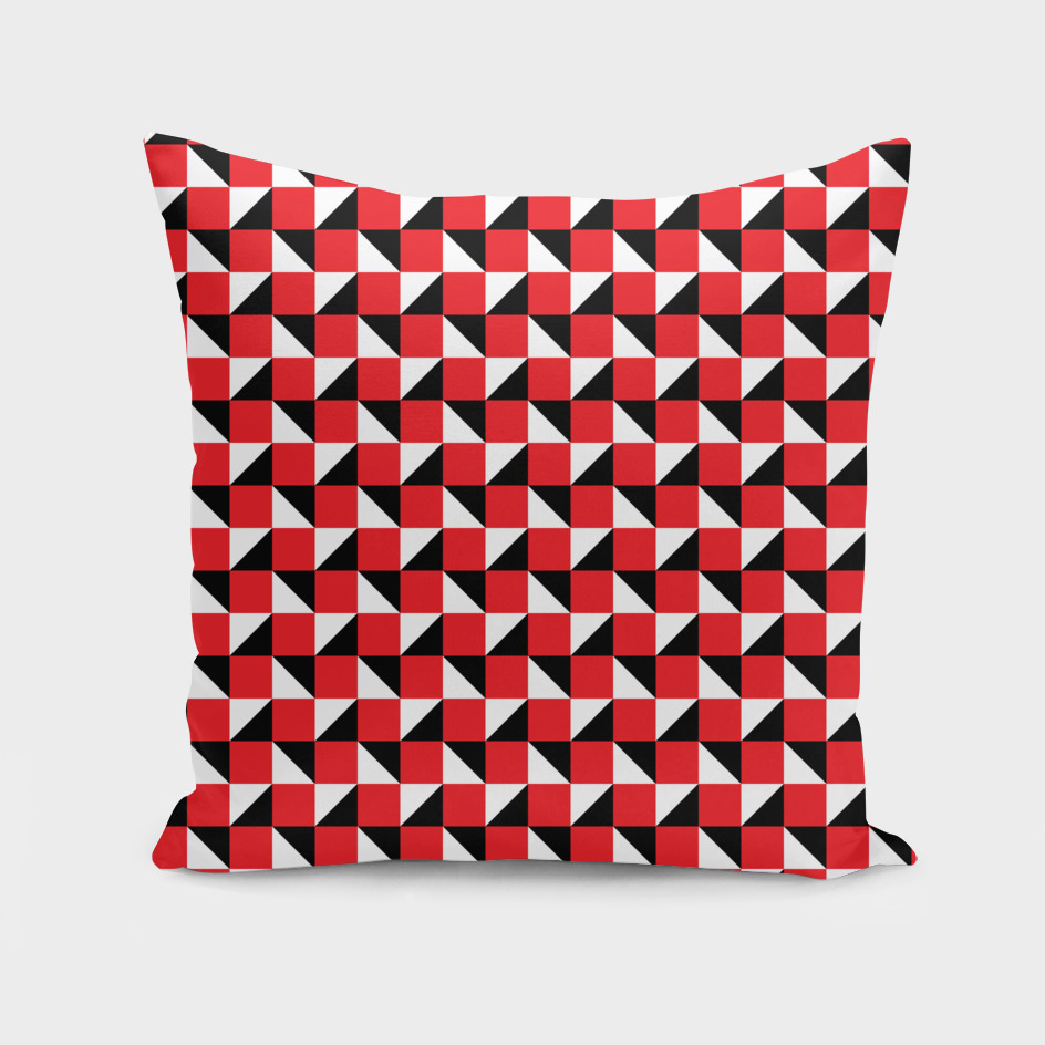 Red Black and White Geometric Pattern
