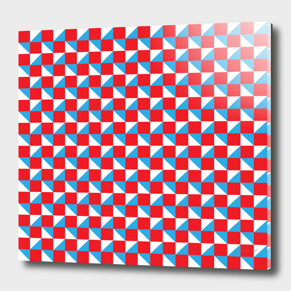 Red Blue and White Geometric Pattern