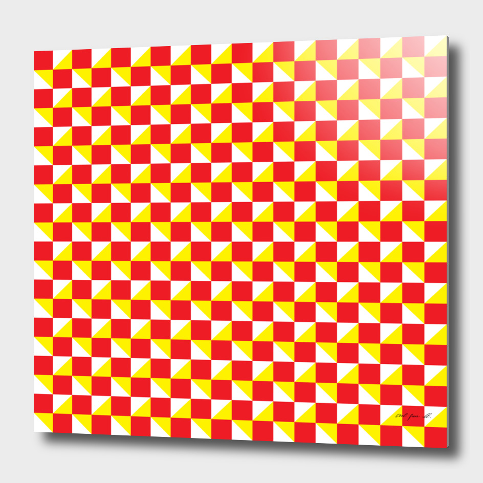 Red Yellow and White Geometric Pattern
