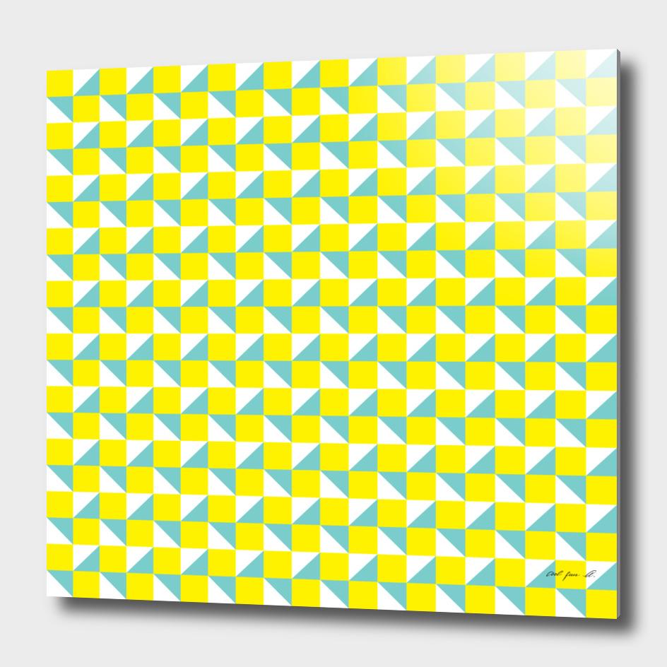 Yellow Aqua and White Geometric Pattern
