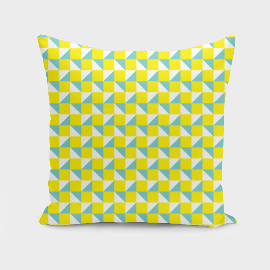 Yellow Aqua and White Geometric Pattern