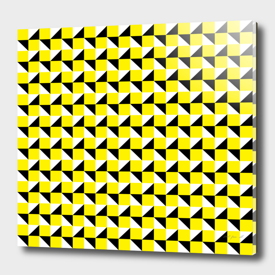 Yellow Black and White Geometric Pattern
