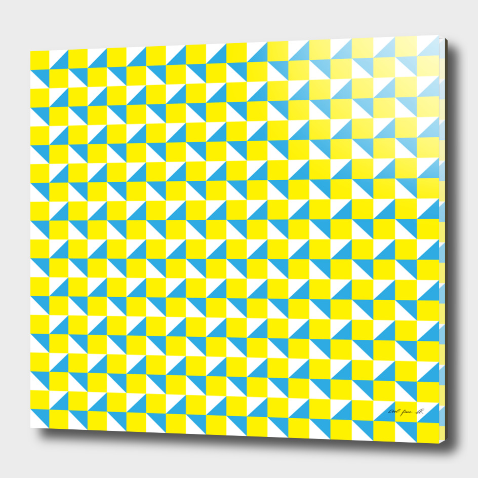Yellow Blue and White Geometric Pattern