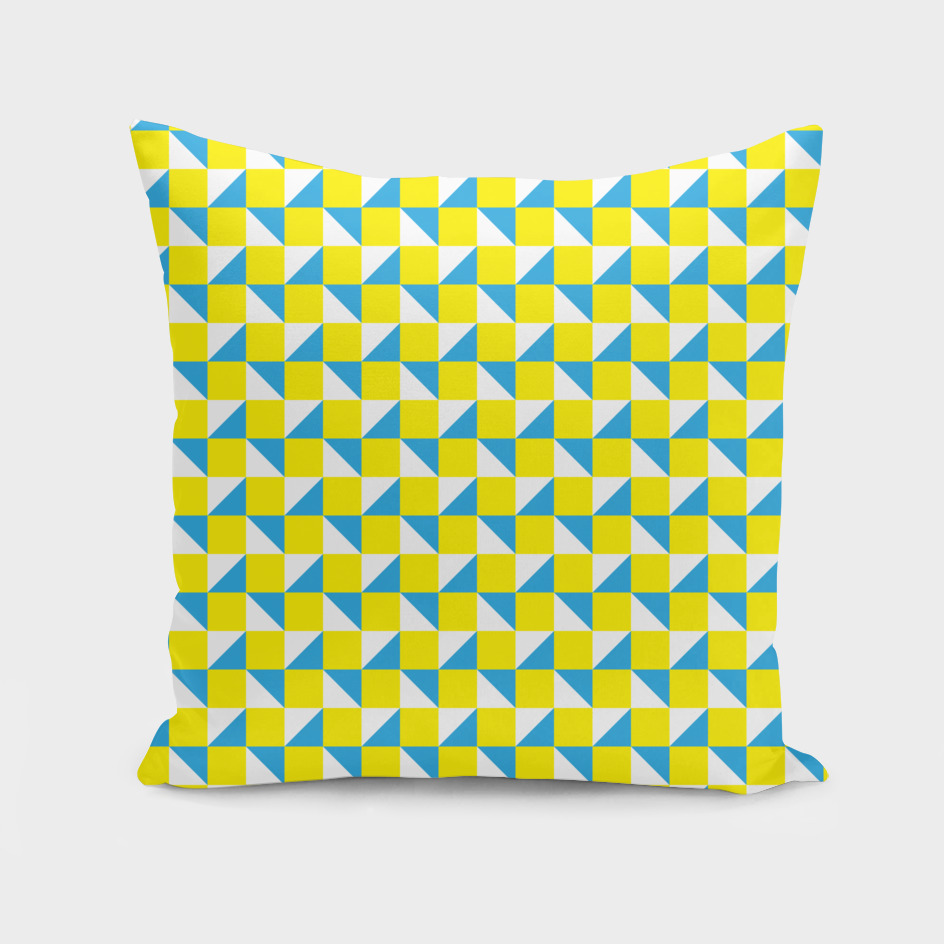 Yellow Blue and White Geometric Pattern
