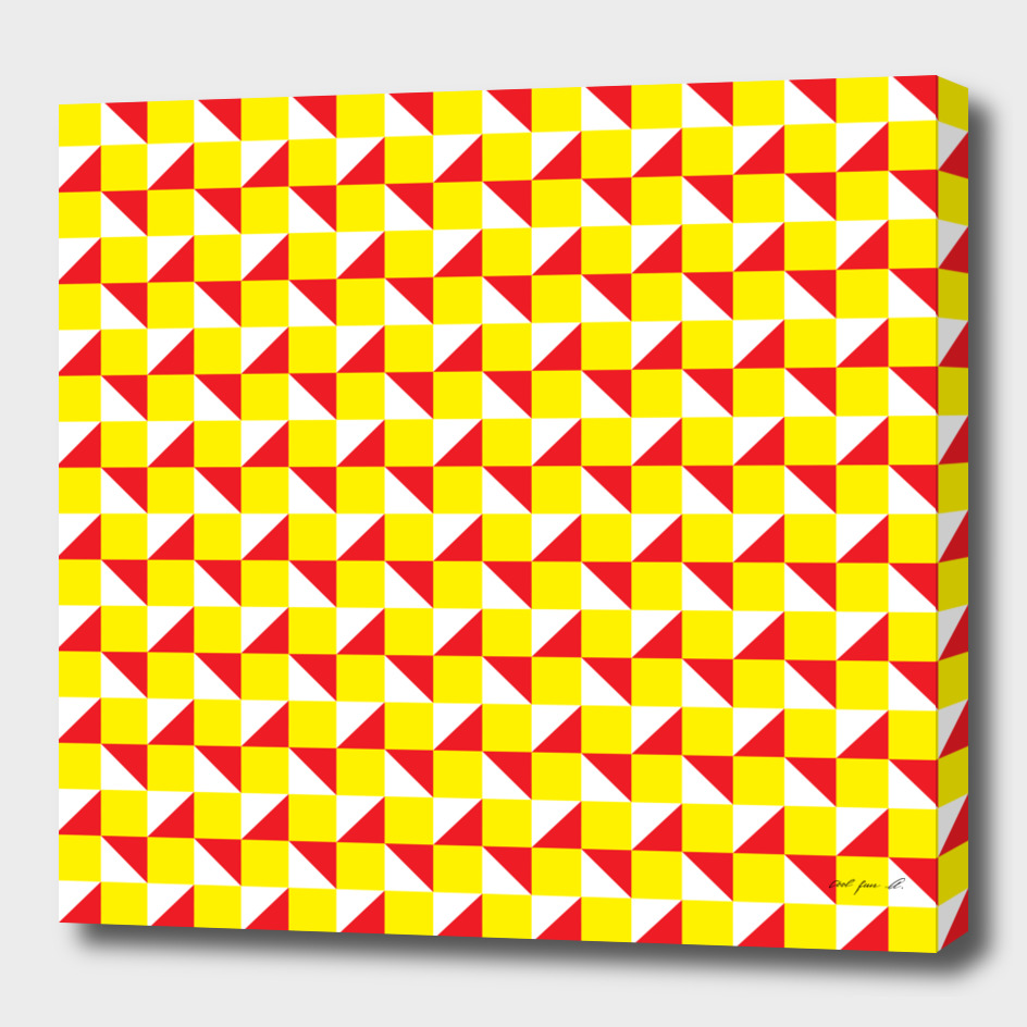 Yellow Red and White Geometric Pattern
