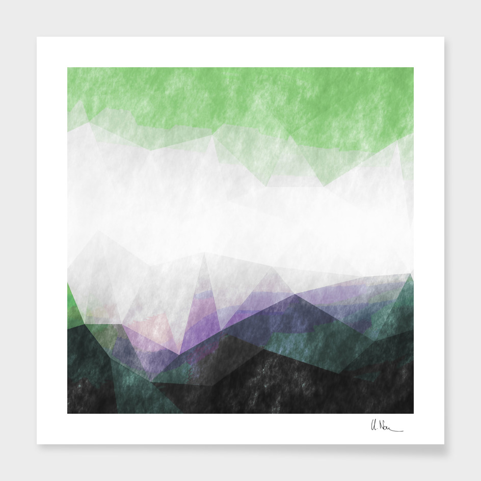 On the mountains- watercolor - triangles