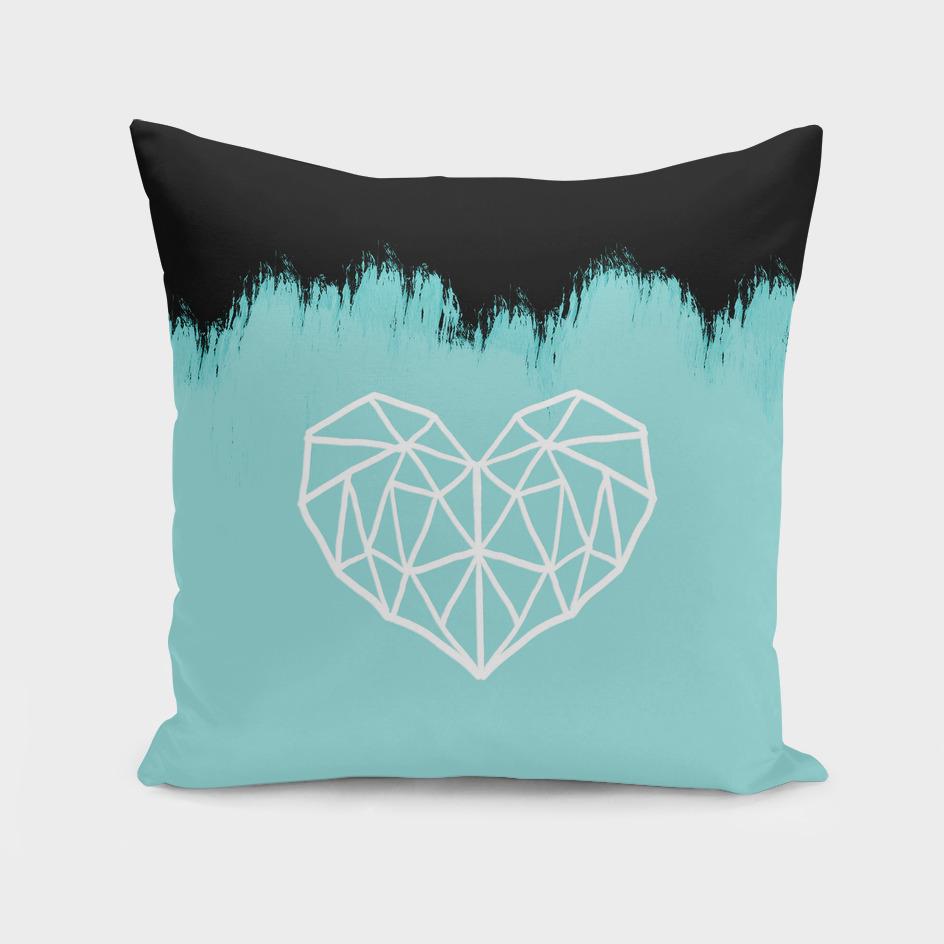 Geometric heart on light blue