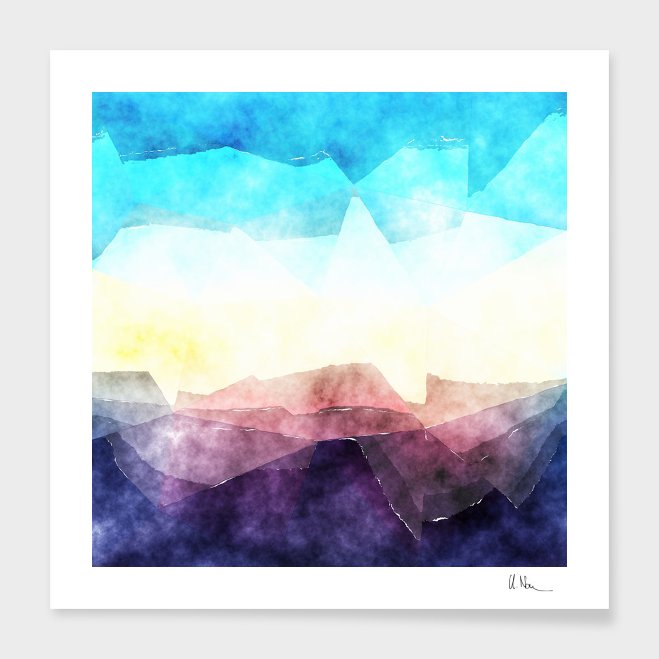 In the sea- watercolor - triangles