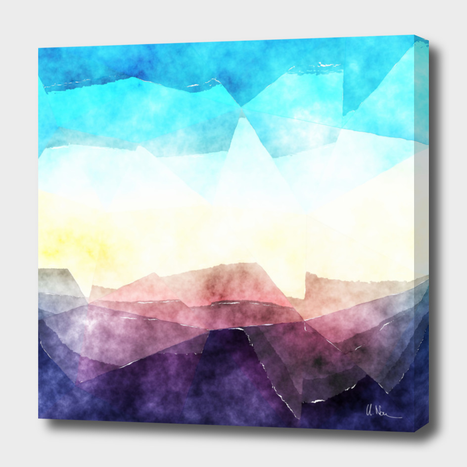 In the sea- watercolor - triangles