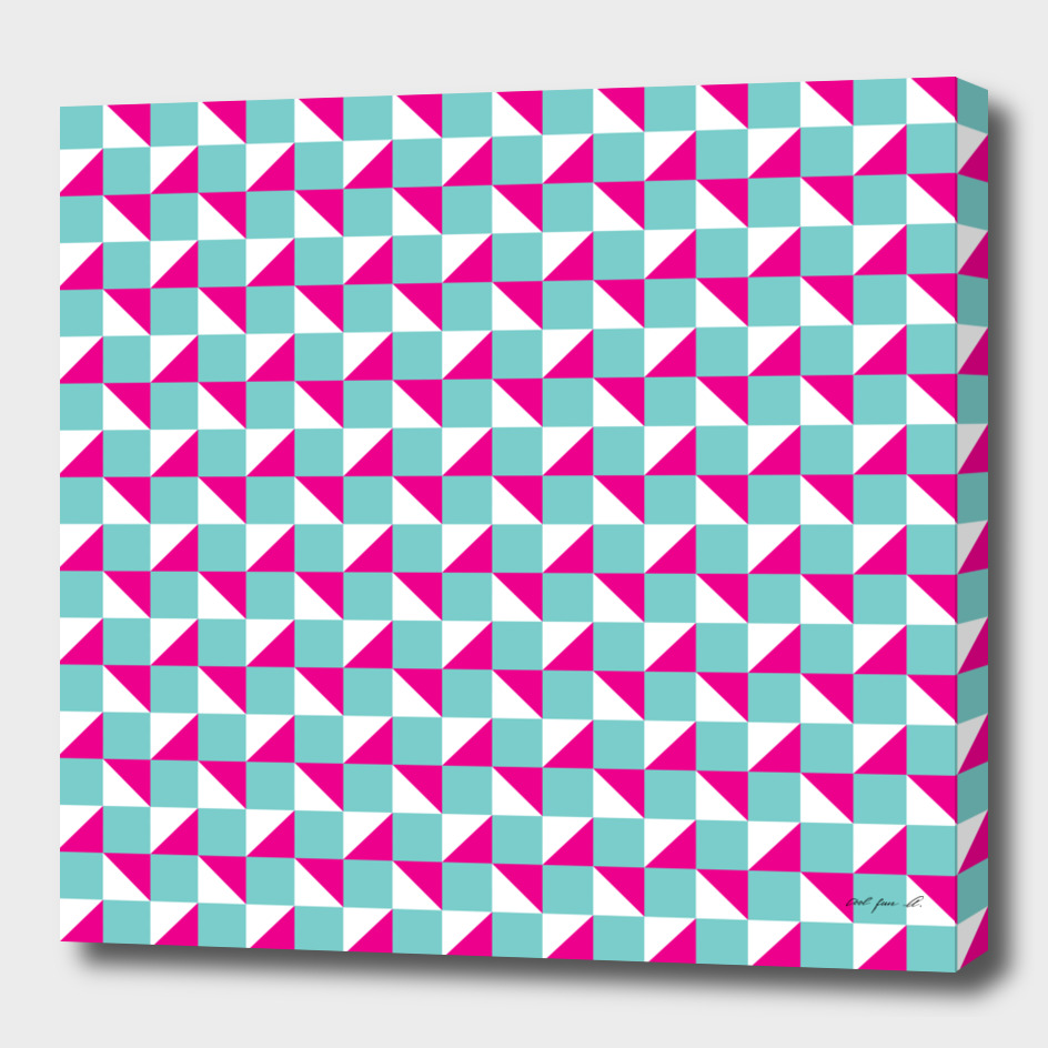 Aqua Pink and White Geometric Pattern