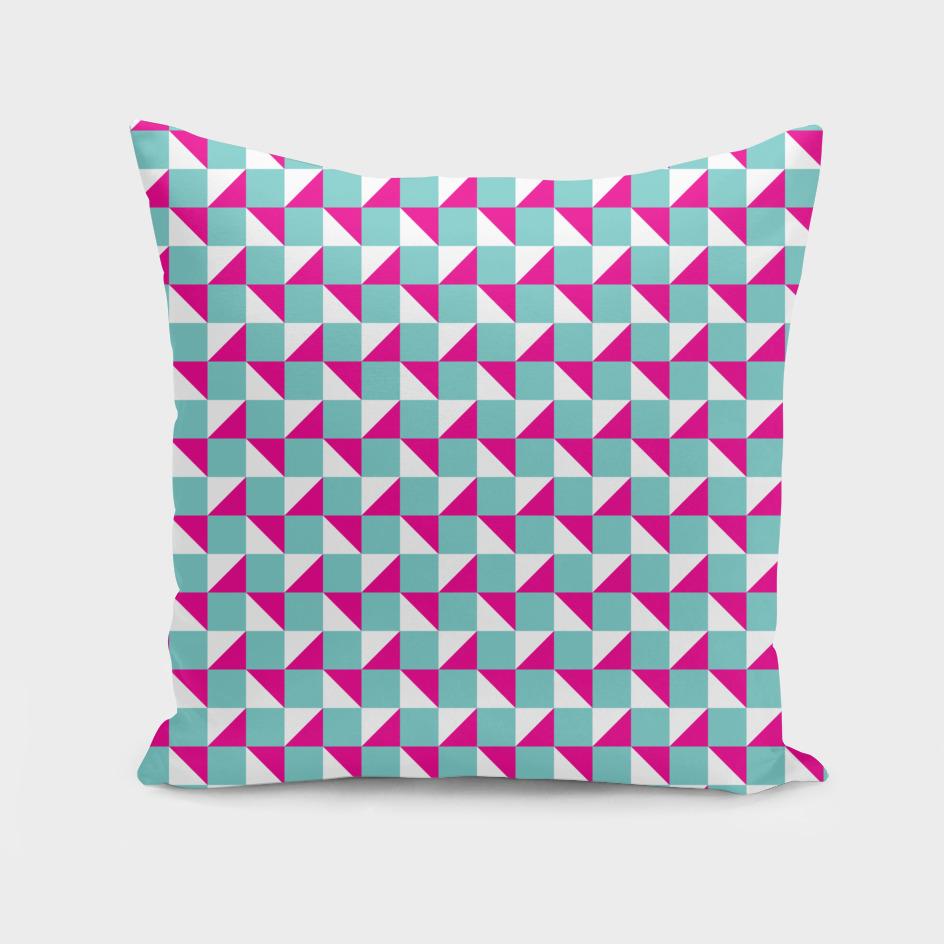 Aqua Pink and White Geometric Pattern