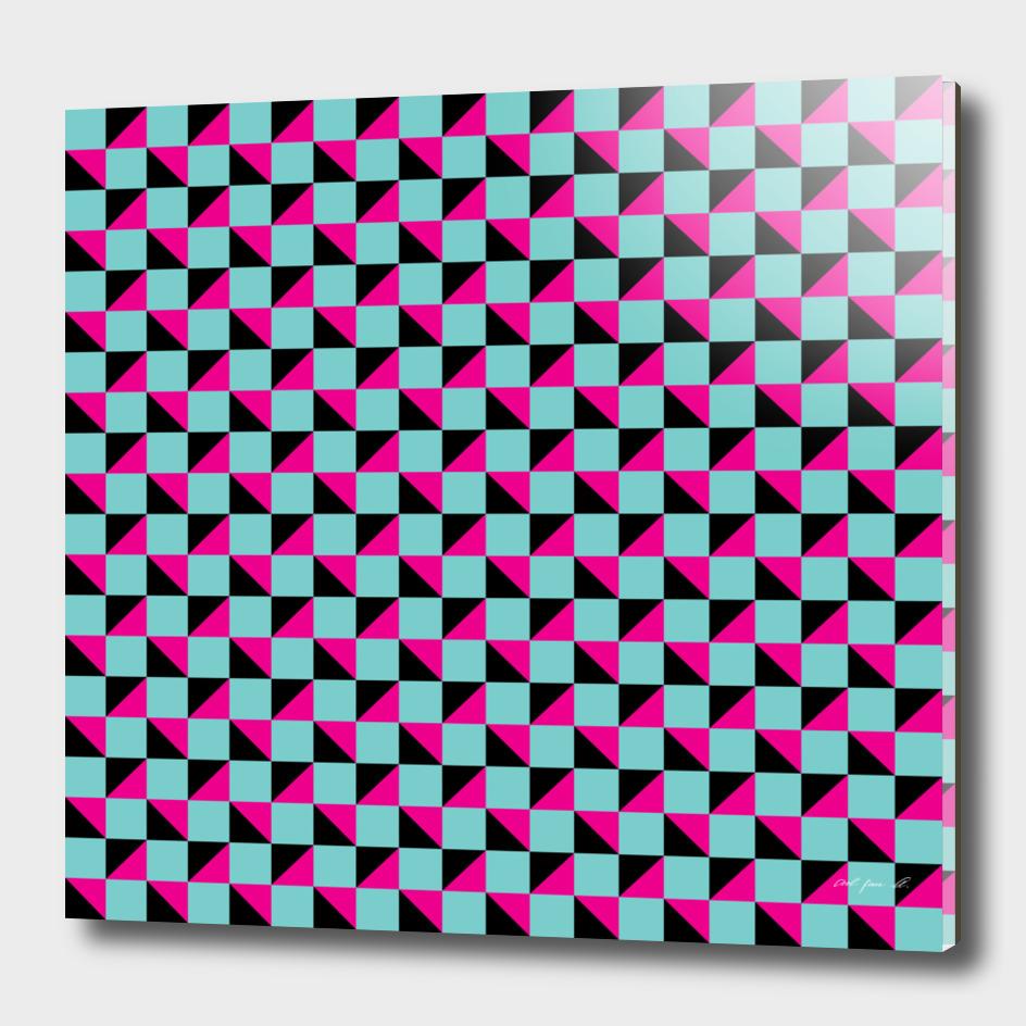 Aqua Pink and Black Geometric Pattern